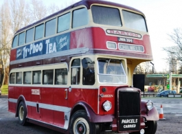 Red vintage bus for weddings in Somerset